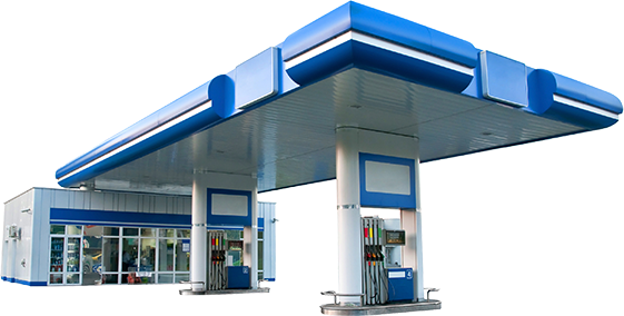 Gas Station Island with Fuel Pumps
